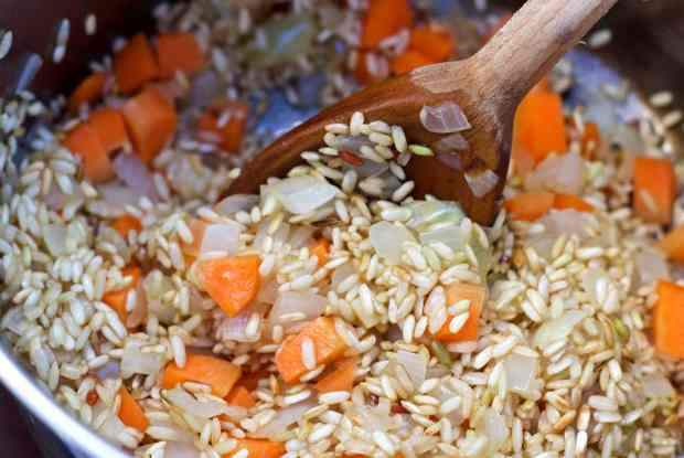 Sauté of Rice for Achiote Red Rice Pilaf