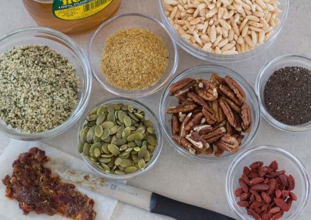 Ingredients for Easy Honey Hemp Bars