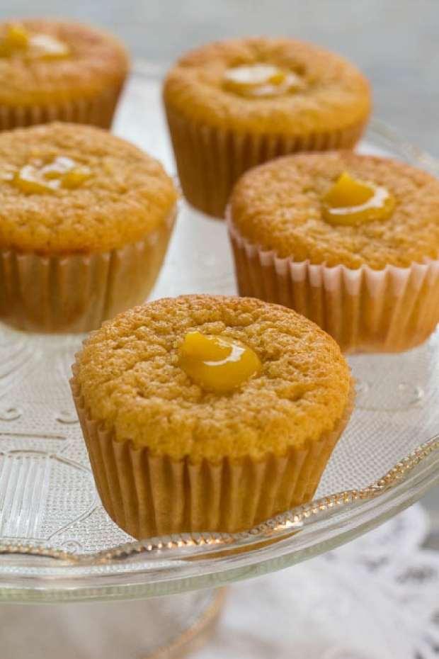 Lemon Honey Chiffon Cupcakes on cake platter