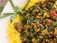 Lentil Spinach Keema and Saffron Rice {vegan, gluten free}