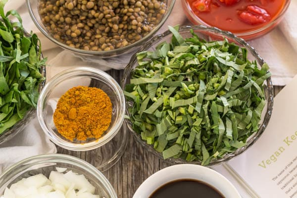 ingredients for Lentil Spinach Keema and Saffron Rice