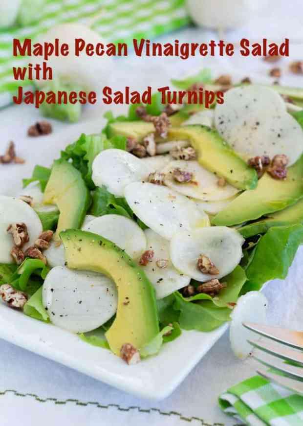 Japanese Salad Turnip Salad with Avocado and Maple Pecan Vinaigrette #vegan #salad #Japanesesaladturnips #maple #candiedpecans