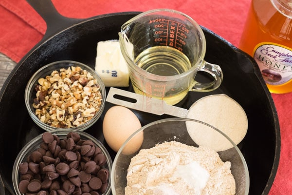 ingredients for Skillet Chocolate Chip Walnut Cookie | Letty's Kitchen