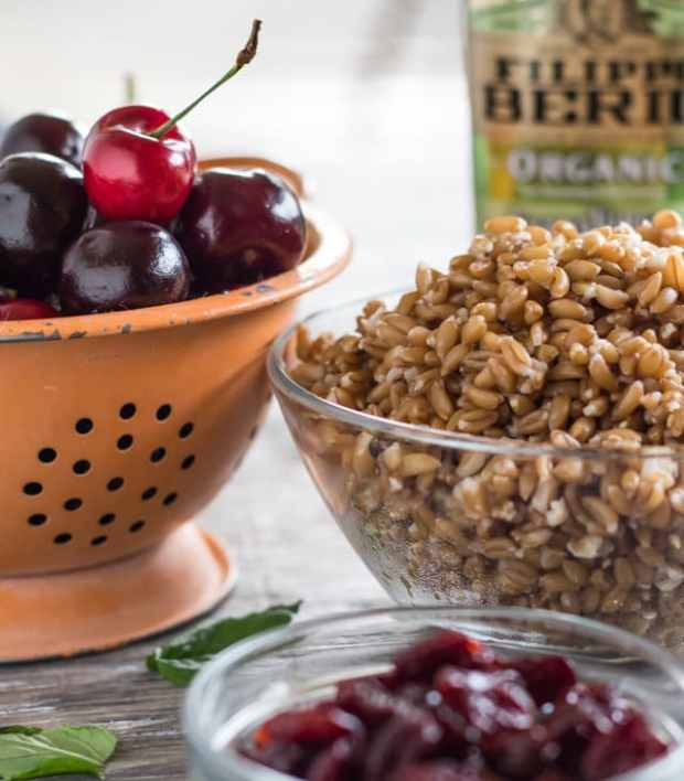 ingredients for Cherry and Farro Salad with Pressure-Cooked Farro | Letty's Kitchen