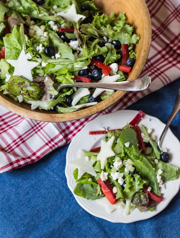 plated Red, White, and Blueberry Salad