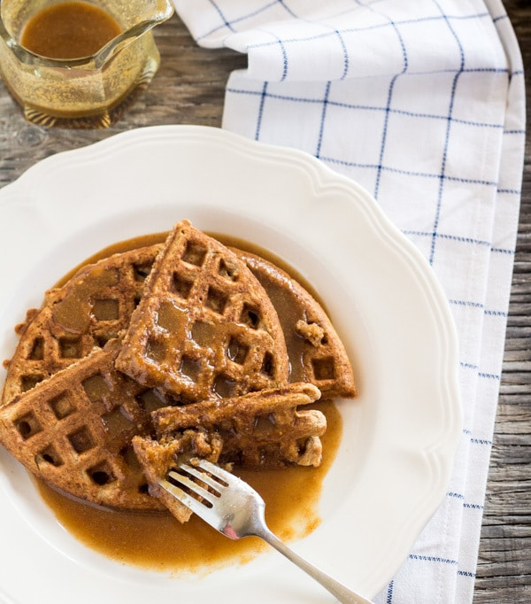 Banana Waffles with Peanut Butter Maple Syrup | Letty's Kitchen