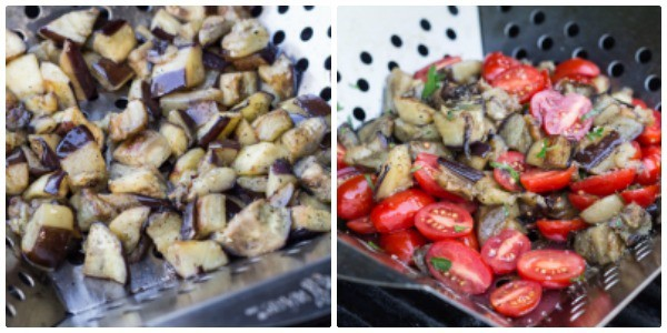 grilling in shake 'n grill basket for Roasted Eggplant and Tomato Pitas with Lemon Tahini Sauce   Letty's Kitchen