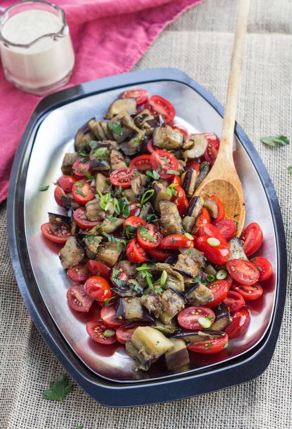 Roasted Eggplant and Tomato Pitas with Lemon Tahini Sauce   Letty's Kitchen