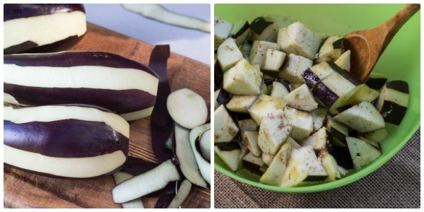 prepping eggplant for Roasted Eggplant and Tomato Pitas with Lemon Tahini Sauce   Letty's Kitchen