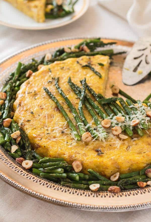 Polenta Cauliflower Torta with Roasted Asparagus | Letty's Kitchen