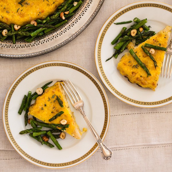 Plated Polenta Cauliflower Torta with Roasted Asparagus | Letty's Kitchen