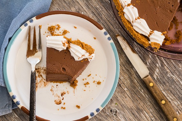 partial slice of Chocolate Honey Pie with Cinnamon Graham Crust | Letty's Kitchen