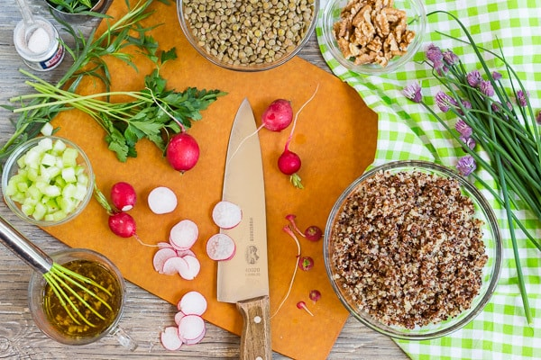 ingredients for French Green Lentil and Quinoa Salad