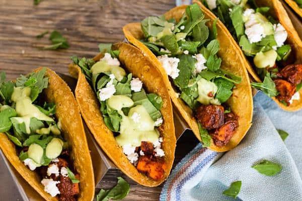 Sweet potato, arugula, goat cheese Vegetarian Mole Tacos