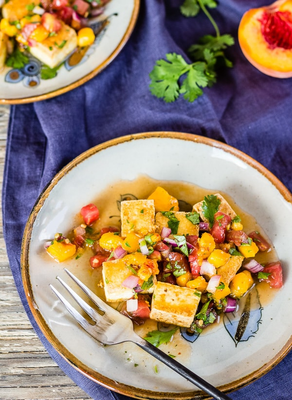 Peach and Tomato Salsa Pan Seared Tofu-Letty's Kitchen