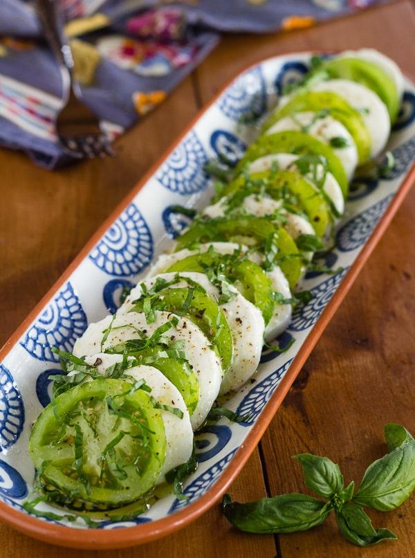 Green Zebra Tomato Caprese Salad