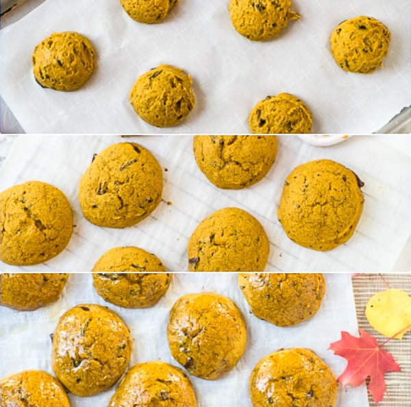 Pumpkin Spice Chocolate Chip cookies process collage