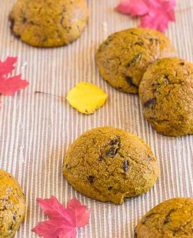 Pumpkin Spice Chocolate Chip cookies with fall leaves