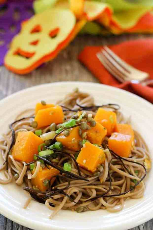 Butternut Squash Soba Noodles for 16 Healthy Vegetarian Halloween Picks