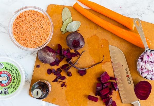 ingredients for Instant Pot Red Velvet Beet Soup