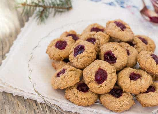 Almond Cranberry Thumbprint Cookies on plate