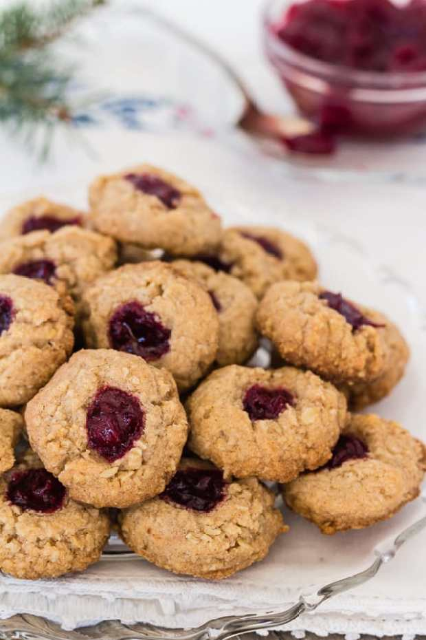 Almond Cranberry Thumbprint Cookies on plate   Letty's Kitchen
