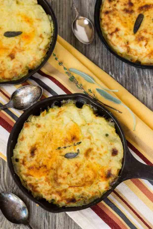 Vegetarian shepherd's pie with vegan mushroom gravy, tofu bits, and garlic mashed potatoes. Gluten-free.