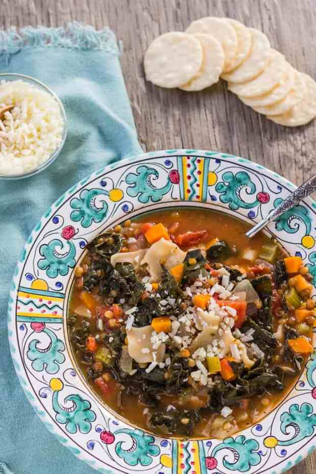 Lasagna Minestrone Soup with Lentils and Kale--Instant Pot Pressure cooker. This hearty vegetarian main course soup can be adapted to all kinds of different pastas, beans, and green leafy vegetables.