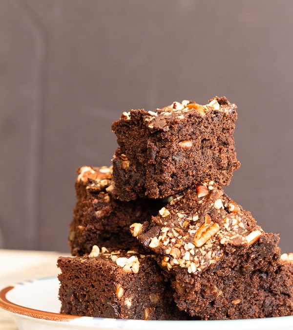 Vegan Gluten Free Chocolate Pecan Brownies stacked
