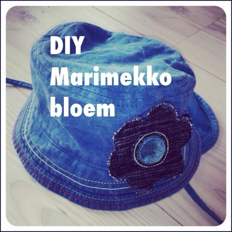 Marimekko bloem knutselen van spijkerstof, voor op een hoedje, pet of vestje