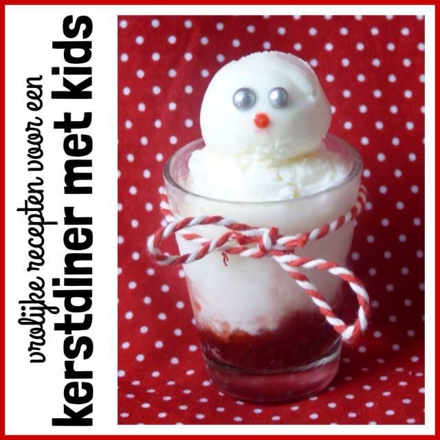 Vrolijk kerstdiner: recepten voor een kerstmenu met kinderen, Nagerecht:Sneeuwpopijs