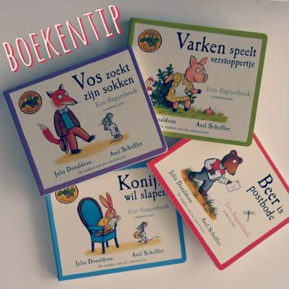 flapjesboeken over de bewoners van het Eikenbos, van de makers van de Gruffalo, kartonboekjes