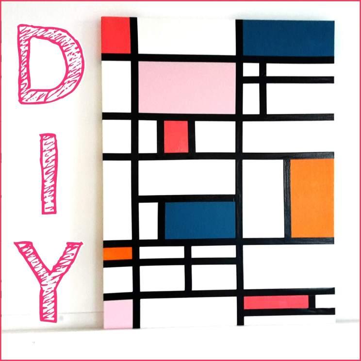 DIY: Mondriaan schilderij in jullie favoriete kleuren