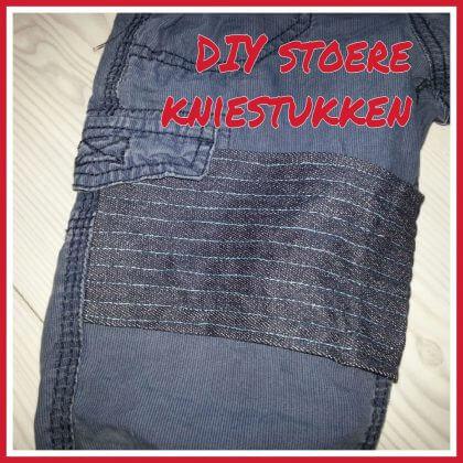 Mooie stoere rechthoekige kniestukken op kapotte broeken maken