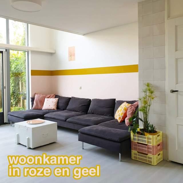 Onze nieuwe woonkamer in roze en geel van Flexa Creations