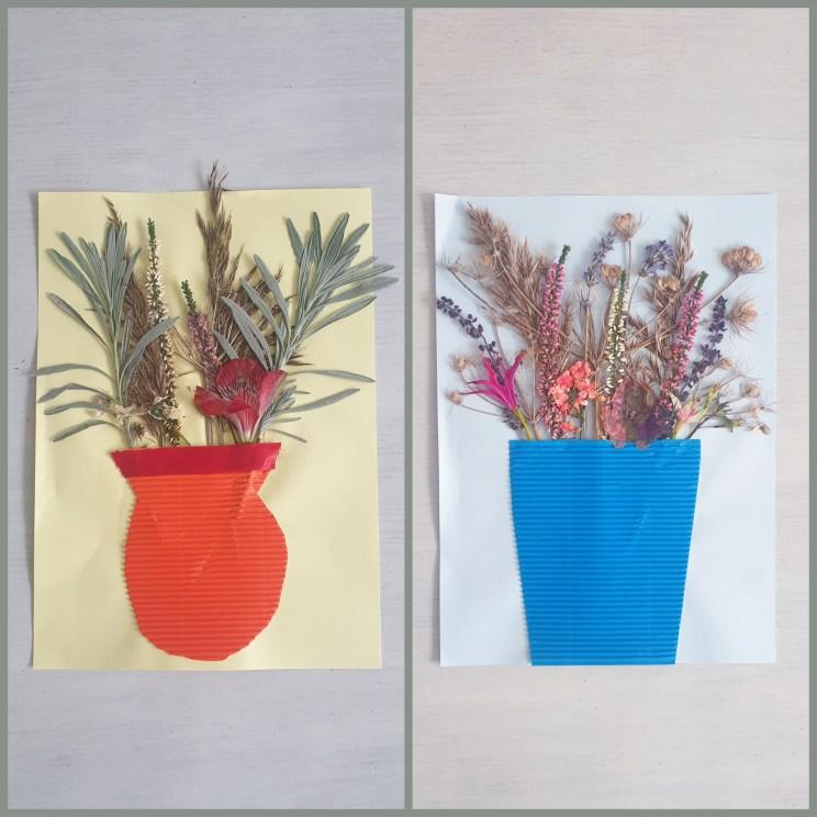 Herfst decoratie knutselen: kunstwerk van droogbloemen in vaas knutselen