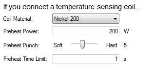 Paramètrage température profil