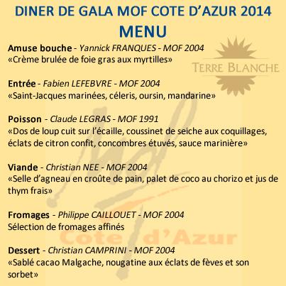 DIner de gala MOF Côte d'Azur, à Terre Blanche