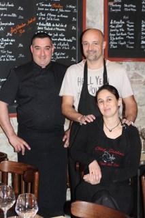 Le chef, Franck Kulinowski, et les gérants, Fabien Bezina et Barbara Hoyon