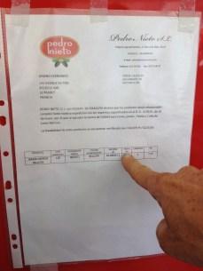 Gabino ne plaisante pas avec l'authenticité de sa Pata Negra, il affiche ses certificats d'authenticité!