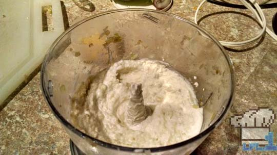 Pureed celery, onions and greek yogurt in food processor before adding trout.