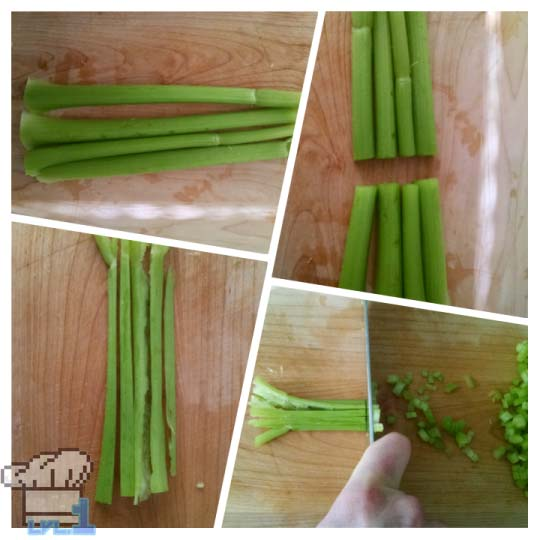 Chopping celery in half width wise then chopping fine for stock.