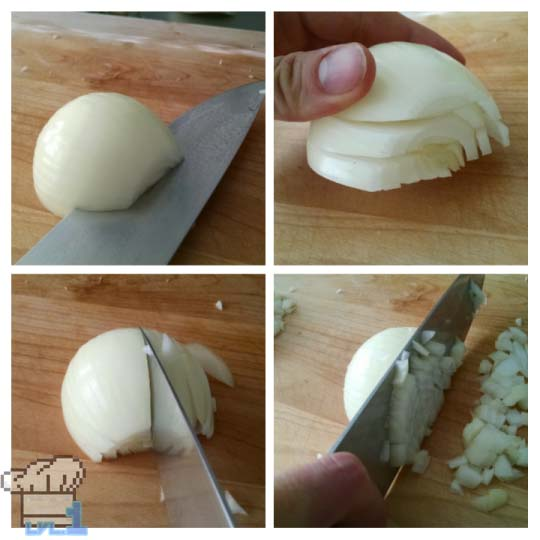 How to properly chop onions for the Simple Soup recipe from the Legend of Zelda Twilight Princes game series.