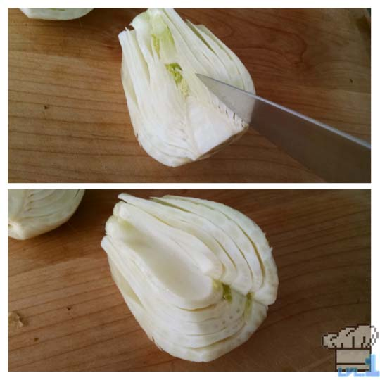 How to core and chop a bulb of fennel for the Simple Soup recipe from the Legend of Zelda Twilight Princess game series.