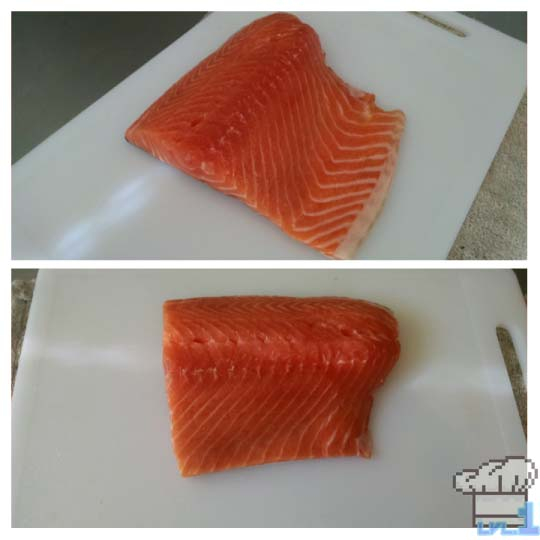 A deboned and de-skinned filet of salmon.