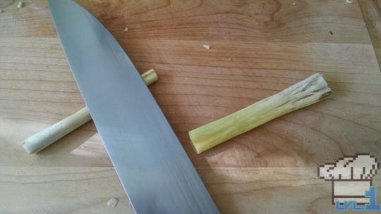Lemongrass chopped in half for the Simple Soup recipe from the Legend of Zelda Twilight Princess game series.