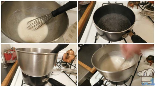 Making a swiss meringue over a double boiler on the stove for the chocolate buttercream base of the cake from the Portal game series.