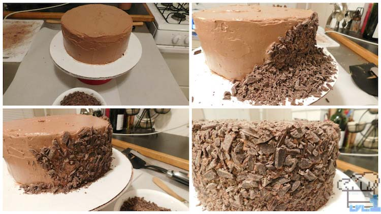 Adding chocolate shavings to the sides and top of the chocolate Portal cake until it is fully covered.
