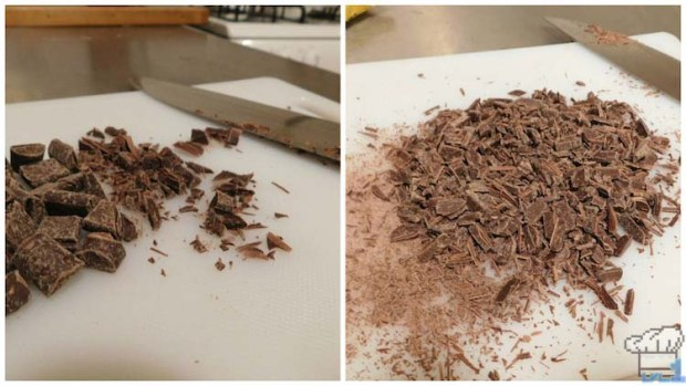 Chopped up chocolate shavings to decorate the top and sides of the Portal cake.