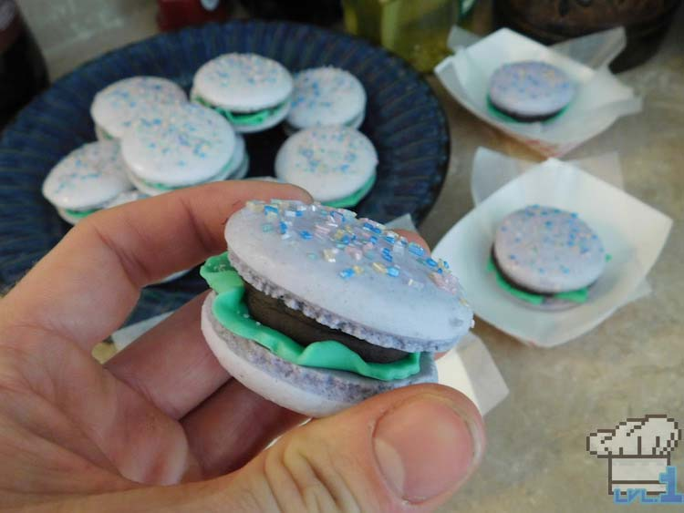 Finished mini Glamburger macaron recipe in hand from the Undertale game series.